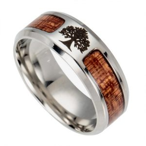 Wooden Tree Of Life Titanium Ring, Men's Rings Online, Ladies Rings Online, Wood Rings, Wooden Rings, Just Rings Online, Free Express Shipping, Free Postage
