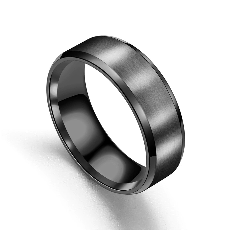 Mens Wedding Bands Titanium.Chicago Black Titanium Men S Ring