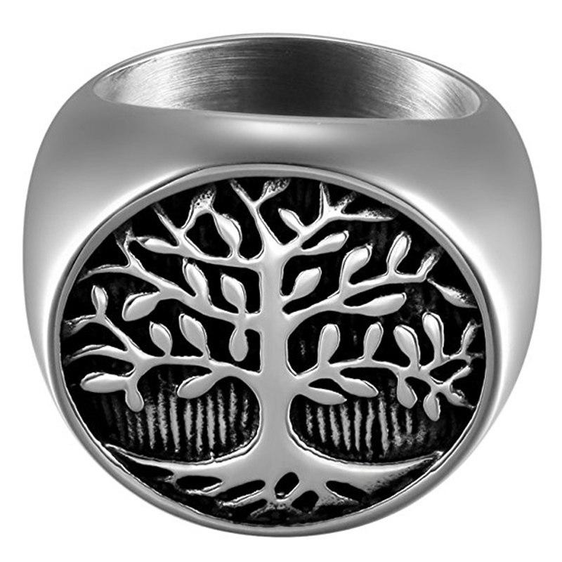 Tree Of Life Silver Men's Ring