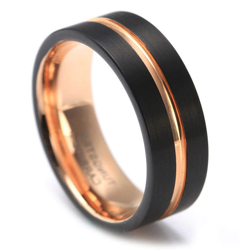 Mens Rose Gold Wedding Band.Xanthus Black Rose Gold Tungsten Men S Band