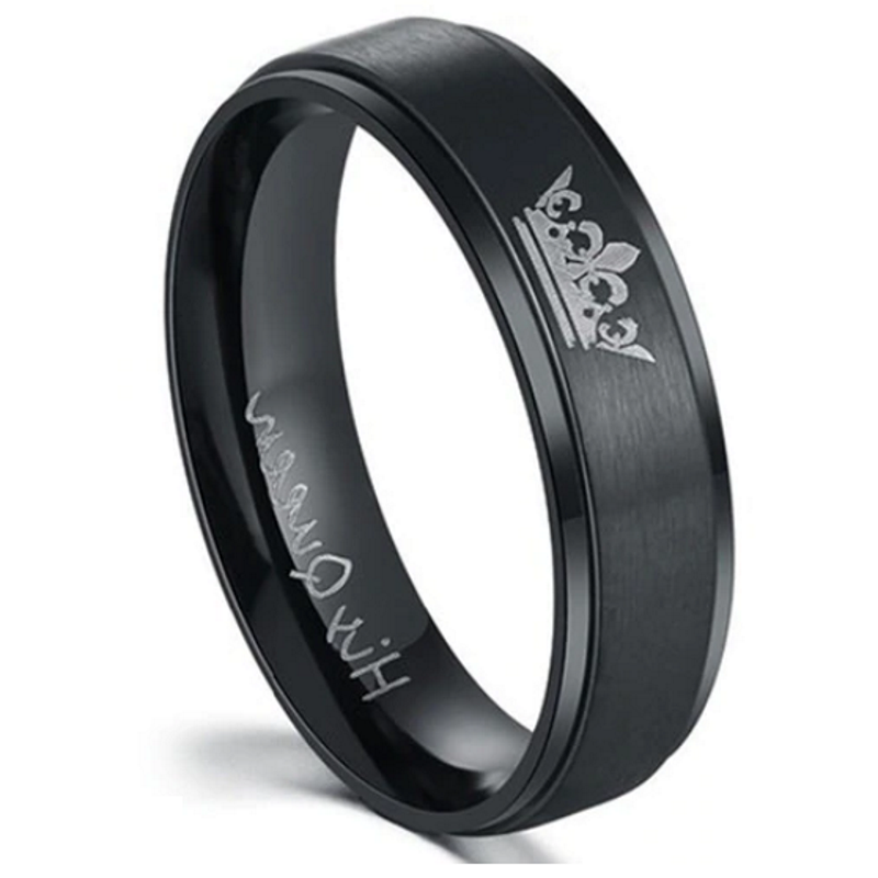 'His Queen' Black Ladies Ring, wedding rings, ladies wedding ring, ladies rings online, wedding band, wedding ring set, afterpay rings, oxipay rings, paypal rings, laybuy rings, couples rings, matching rings, free express shipping, free shipping, Australian stock
