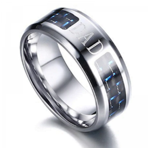 """""""Dad"""" Blue Silver Men's Ring wedding band, wedding ring, grooms ring, mens rings online, wedding rings online, tungsten ring, rose gold ring, afterpay, oxipay, paypal"""