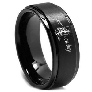 'Her Cowboy' Black Men's Ring, Men's rings online, men's wedding rings, men's wedding band, couples rings, country style wedding, country style, western rings