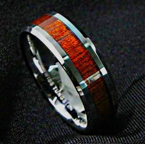 Men's Silver Tungsten Ring with Koa Wood 8mm, Mens Rings Online, Just RIngs, Afterpay, Zippay, Humm
