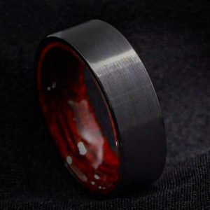 Men's Black Brushed Tungsten Ring with Red Sandalwood Inlay 8mm