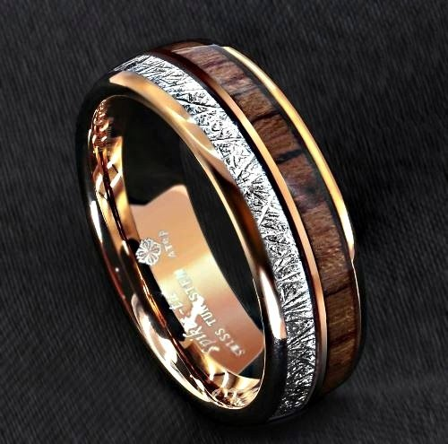 Men's Rose Gold Dome Tungsten Ring with Koa Wood Inlay 8mm
