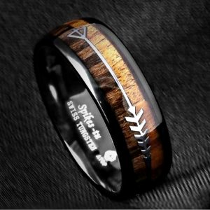 Men's Black Dome Tungsten Ring with Wood Inlay Silver Arrow 8mm, Mens Rings Online, Just RIngs, Afterpay, Zippay, Humm