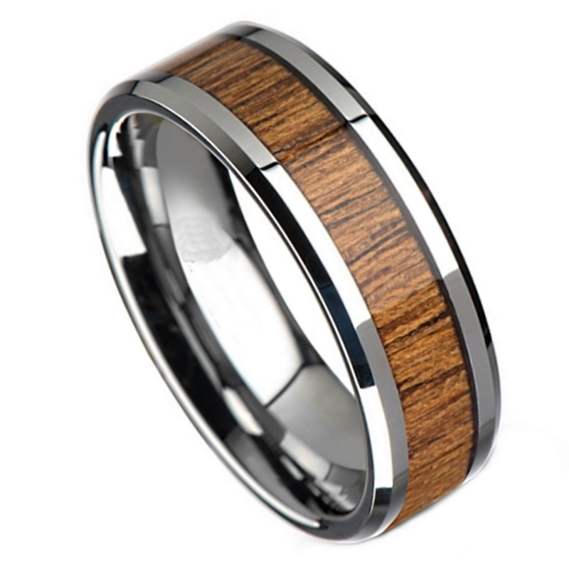 Dawson Tungsten Ring with Koa Wood, Men's Silver Tungsten Ring with Koa Wood 8mm, Mens Rings Online, Just RIngs, Afterpay, Zippay, Humm