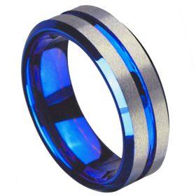 Titan Blue Silver Titanium Men's Ring, Men's Rings Online, Men's Ring Just Rings Online, Free Express Postage, Free Shipping