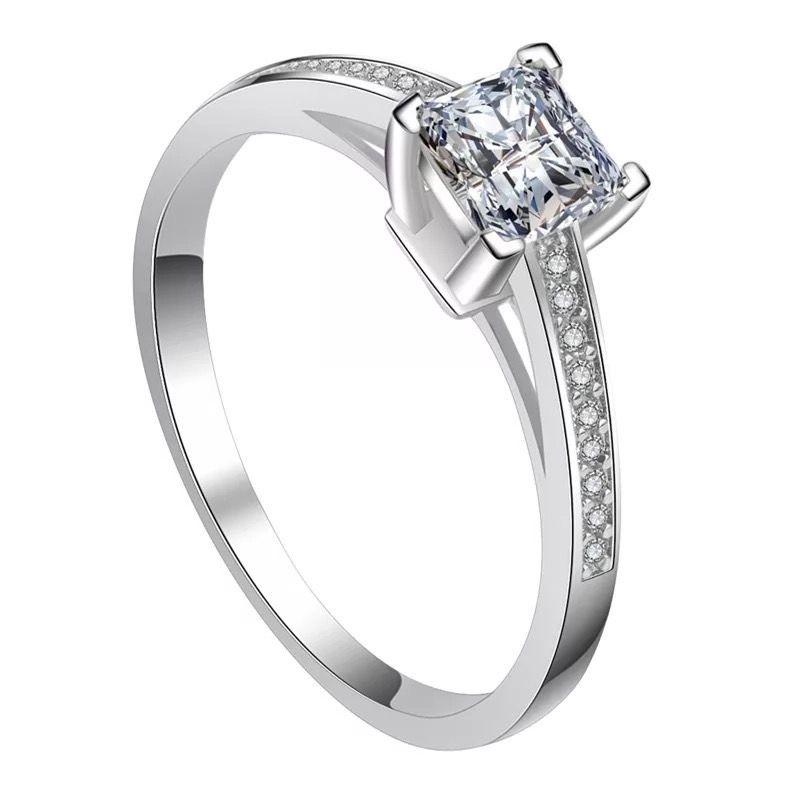 Princess Silver Tone Ladies Ring, sterling silver, 925, engagement ring, Ladies engagement ring, Wedding ring, bridal set