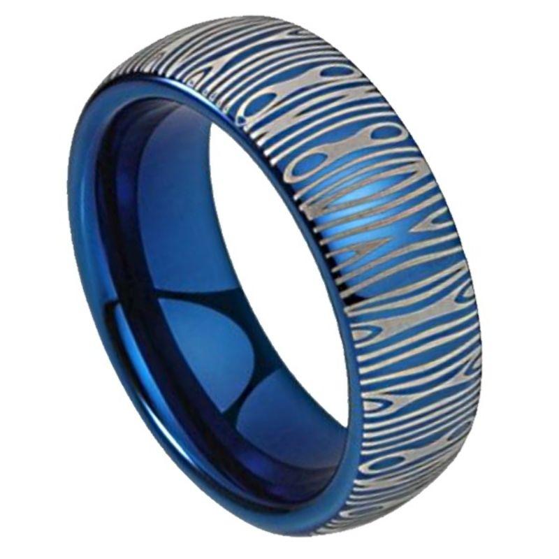 Blue Steel Men's Damascus Ring